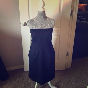 Navy Cotten strapless dress with pockets